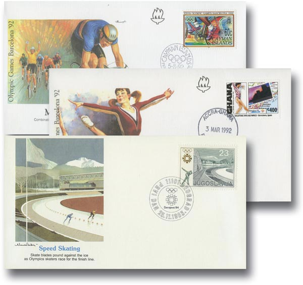 Foreign Olympic FDCs, 65v 64% DISCOUNTED