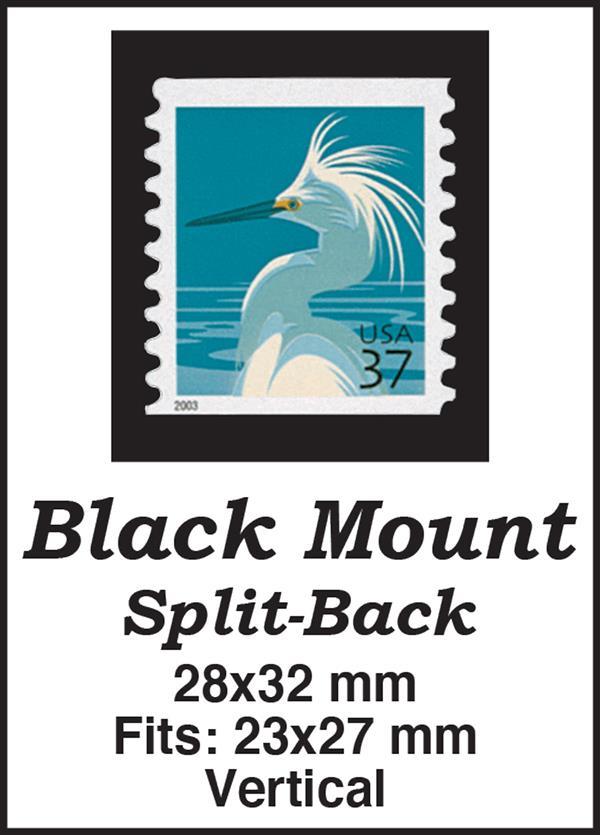 28x32mm 50 Vertical Black Split-Back Mounts