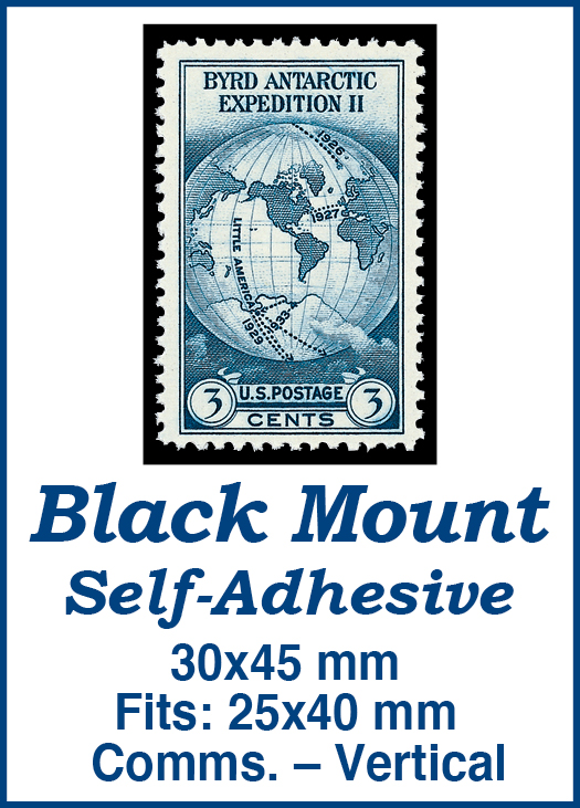 30x45mm 50 Vertical Black Self-Adhesive Mounts