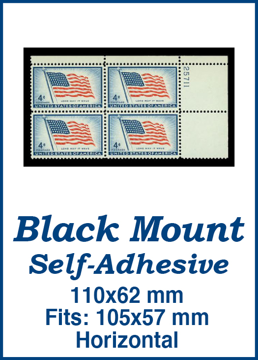 110x62mm 50 Horizontal Black Self-Adhesive Mounts