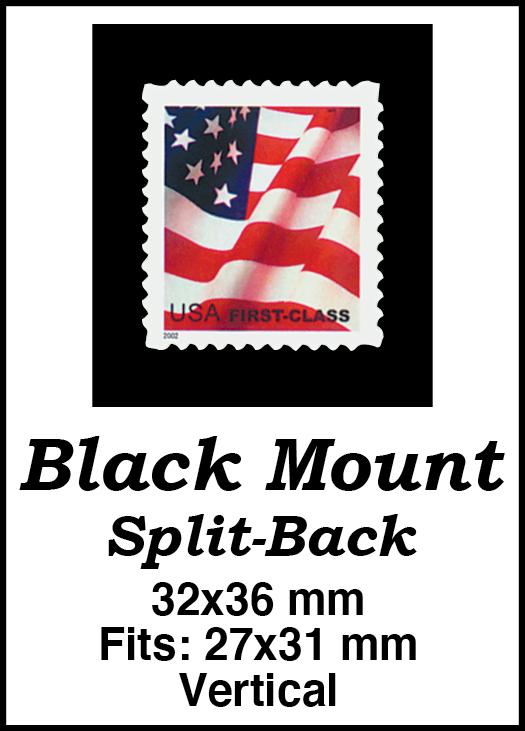 32x36mm 50 Vertical Black Split-Back Mounts