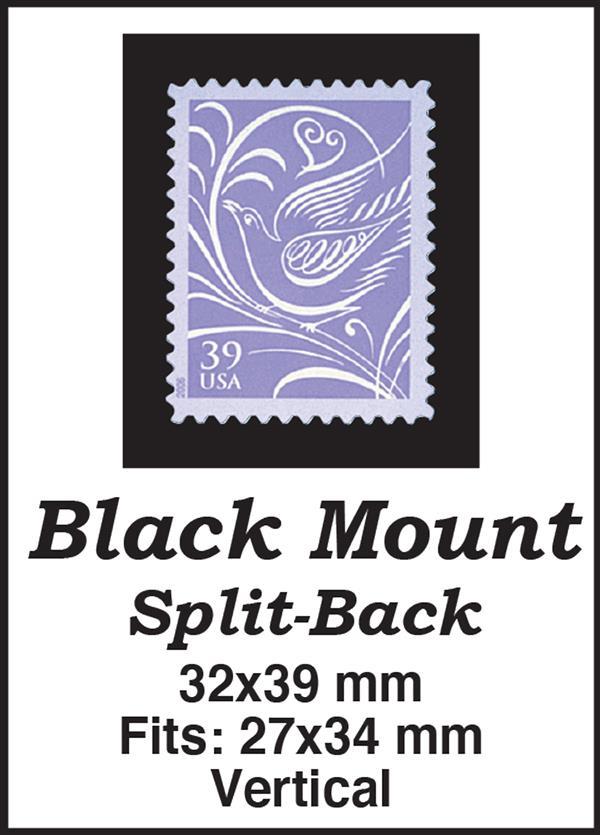 32x39mm 50 Vertical Black Split-Back Mounts