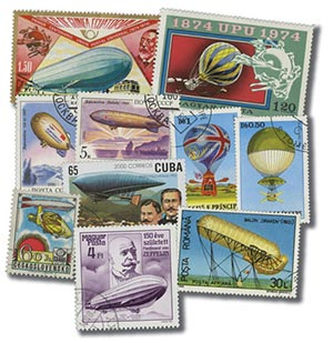 Zeppelins & Balloons, 50 stamps, cancelled