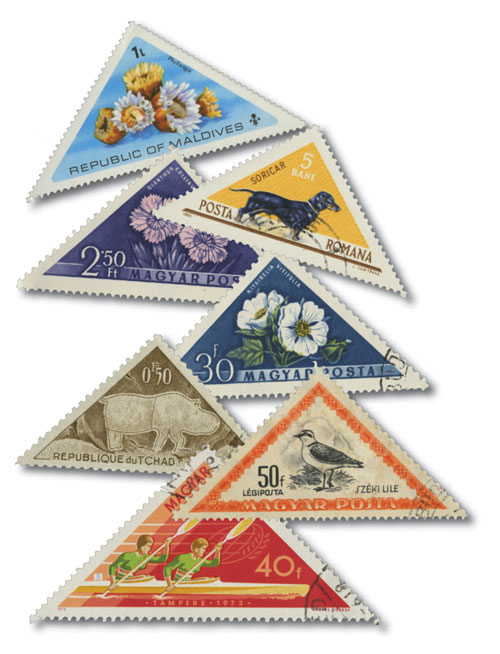 Triangle shaped stamps, 50v