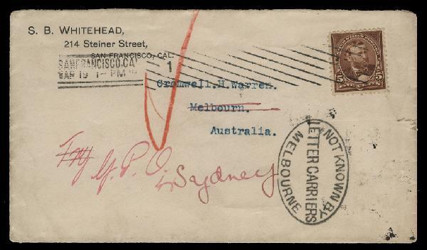 1895 5c Grant Single (Scott #270) on 1897 Cover From San Francisco to Australia