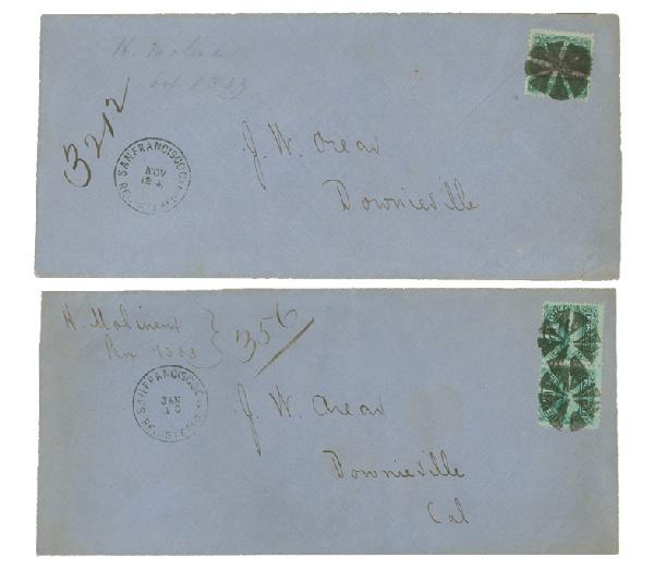1869 Issue 24c Single (Scott #120) & 12c Pair (Scott #117) on Matching Domestic Registered Covers