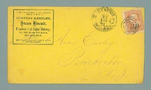 1867 3c Washington, red (Scott #94) on Billboard post card for Godfrey Keebler Steam Biscuit Cracker and Cake Bakery