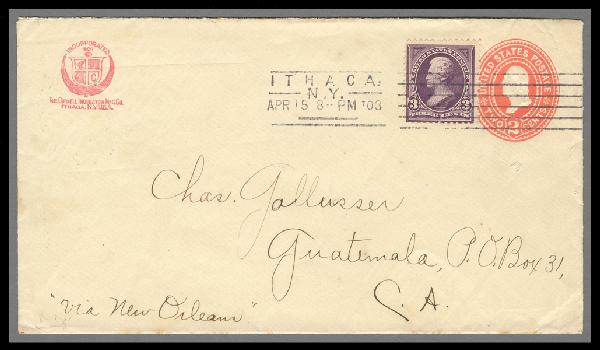 1895 3c Jackson on 2c Entire Sent from Ithaca, New York to Guatemala