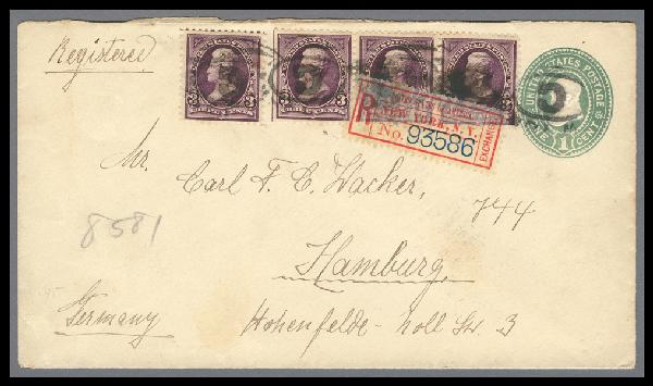 1895 3c Jackson on 1c Entire Sent from New York to Germany