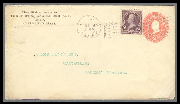 1895 3c Jackson (Scott #268) on 2c Entire Sent from Massachusetts to Guatemala