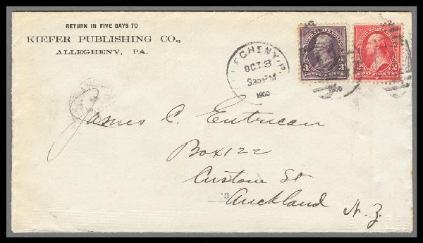 1895-99 1st Bureau Issue 2c & 3c Stamps on Cover to Auckland, New Zealand