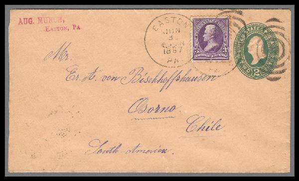 1895 1st Bureau Issues 3c Jackson (Scott #268) on 2c Entire to Osorno, Chile