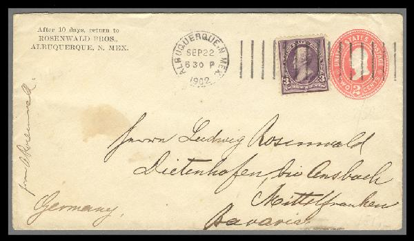 1895 3c Jackson on 2c Entire Sent from New Mexico Territory to Germany