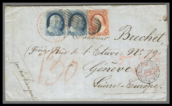 1851-57 Issue 1c Franklin Pair and 3c Washington Single on Folded Letter to Switzerland
