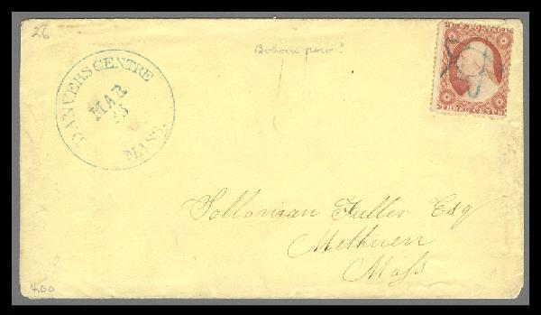1857 3c Washington Type III Single (Scott #26) Used on Cover by 5-Point Star Fancy Cancel