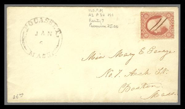 1857 3c Washington Type III Single (Scott #26) on Cover from Pocasset, MA