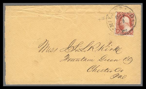 1857 3c Washington Type III Brownish Carmine Single (Scott #26) Used on Cover
