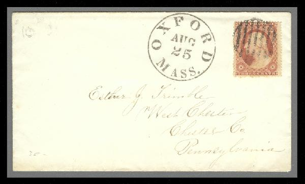 1857 3c Washington Type IV Single (Scott #26A) on Cover from Oxford, MA