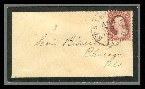 1857 3c Washington Type III Single (Scott #26) on Mourning Cover fFrom Springfield, IL