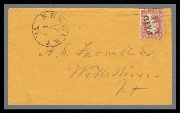 1857 3c Washington Type III Single (Scott #26) on Cover from Newberry, VT