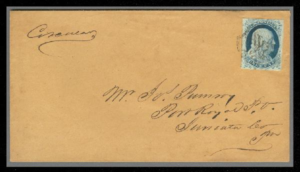 1852 1c Franklin Type IV Single (Scott #9) on Unsealed Circular Cover