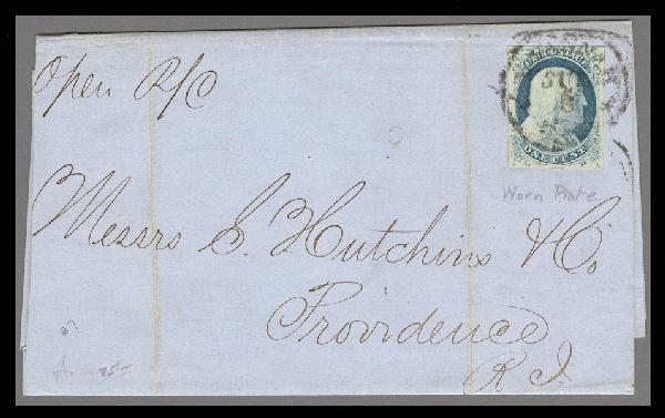 1852 1c Franklin Type IV Single (Scott #9) on 1857 Printed Circular