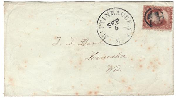 1857-61 Issue 3c Type III Single (Scott #26) Used on Cover by Masonic Cancel