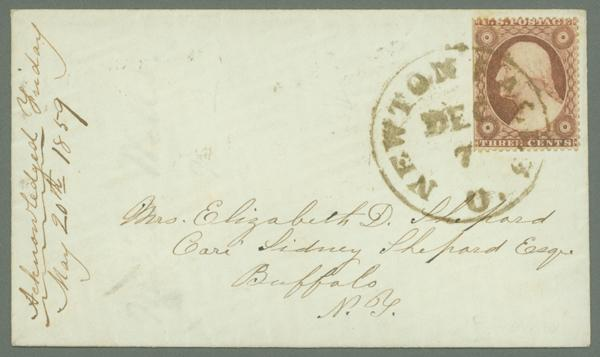 1857-61 Issue 3c Type III Single (Scott #26) Tied by Olive Green CDS on Cover