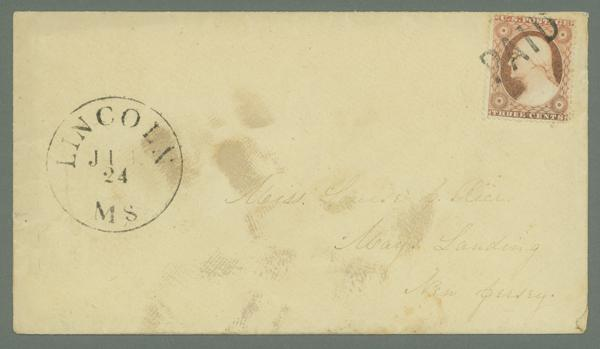 1857-61 Issue 3c Type III Single (Scott #26) Used on Cover from Lincoln, MA