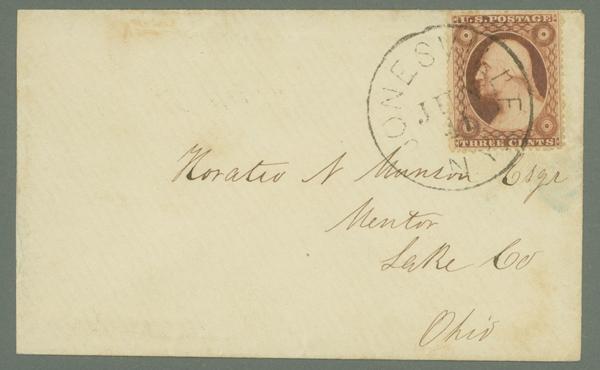 1857-61 3c Type III Single (Scott #26) Tied On Cover From Jonesville, New York