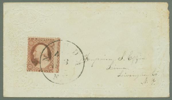 1857-61 3c Type III Single (Scott #26) Tied on Cover from Nunda, NY