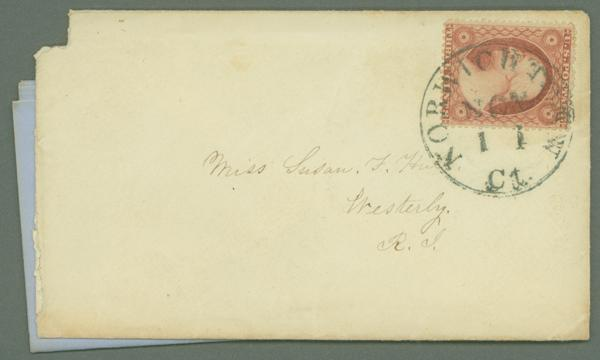 1857-61 3c Type III Single (Scott #26) Tied on Cover by Green Norwichtown, CT CDS