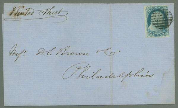 1852 1c Franklin Type IV Single Scott #9) on a Printed Sheet's Folded Cover