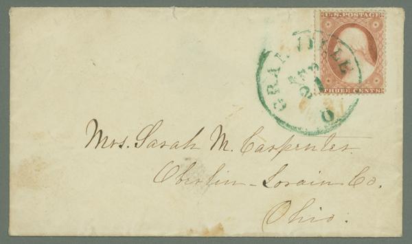 1857-61 3c Type III Single (Scott #26) Tied on Cover by Green Ohio CDS Cancel