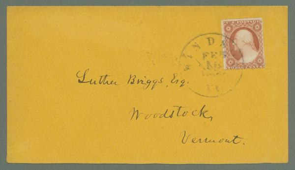 1857-61 3c Washington Type III Single (Scott #26) on Cover to Woodstock, Vermont