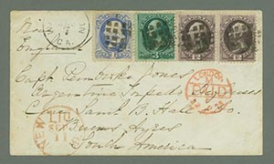 1873 Continental Bank Note Printings on Cover to Argentina (Scott #162)