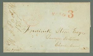 1851 Stampless Folded Letter Sent on First Day of New 3c Prepaid Rate