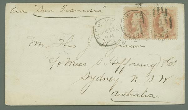 1879 6c Lincoln Horizontal Pair (#186) on Cover to Sydney, Australia