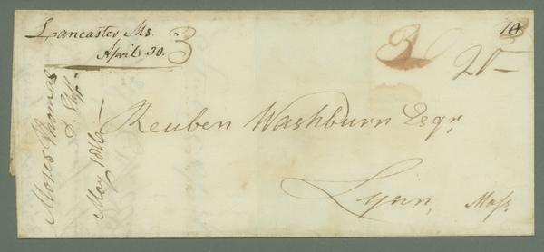 1816 Folded Letter Sent from Lancaster, MA, to Lynn, MA