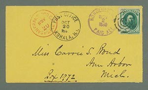1871 6c Kamehameha V (#H33) on Cover from Hawaii to Michigan with Kohala and Ann Arbor Postmarks