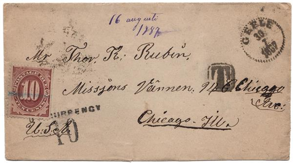 1884 10c Postage Due (#J19) on Cover From Gegle, Sweden to Chicago, IL