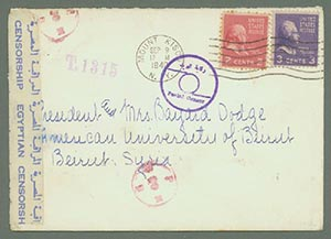 1940 Cover Sent By Ocean Mail to Vichy Occupied Lebanon/Syria