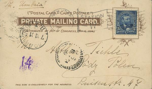 1898 5¢ Grant Private Mailing Card