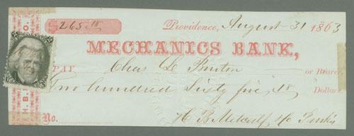 1863 2c Jackson Single Improperly Paying 2c Tax on Bank Check