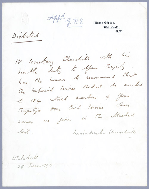 1911 Letter From Winston Churchill To George V, Signed By Both