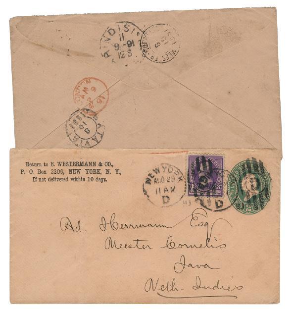 1890 2c Entire & 3c Jackson (Scott #221) on 1891 Cover to Java, Dutch Indies
