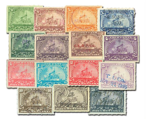 1898  1/8c-50c Battleship Revenue Stamp Collection, Used and Unused with Small Imperfections, Set of 15