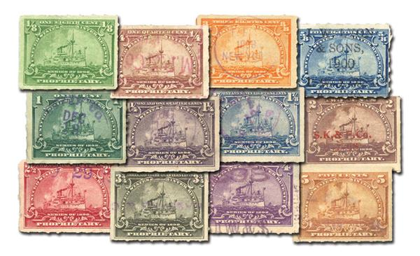 1898 1/8c - 5c U.S.Proprietary Stamps Collection, Used and Unused with Small Imperfections, Set of 12