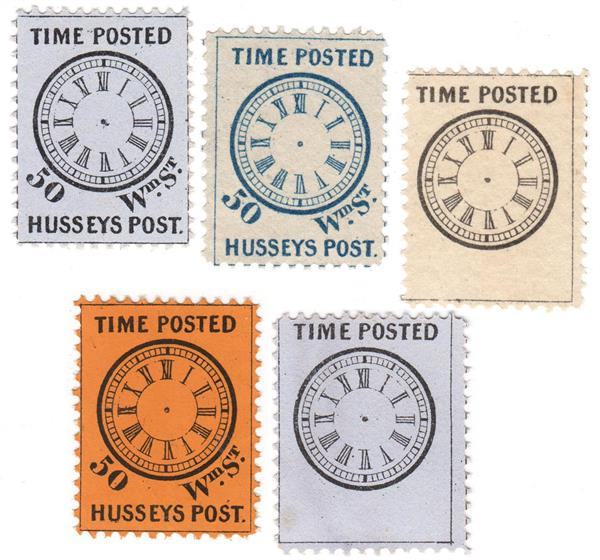 Husseys Post-Time Clock Labels, Set of 5