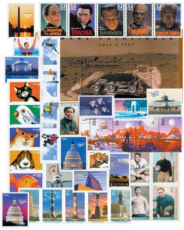 1997-2004 Scrambled Indicia Stamp Collection, Mint, Set of 42 Stamps, U.S.